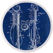 1930 Gas Pump Patent In Blue Round Beach Towel