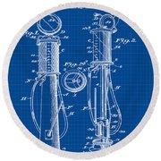 1930 Gas Pump Patent In Blue Print Round Beach Towel