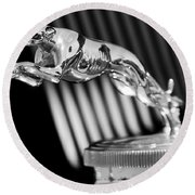 1930 Lincoln Berline Hood Ornament Round Beach Towel