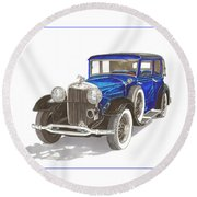 1930 Lincoln L Berline Round Beach Towel