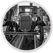 1930 Model T Ford Monochrome Round Beach Towel