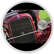 1930 Red Ford Model A-front-8886 Round Beach Towel