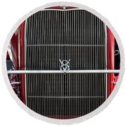 1930 Red Ford Model A-grill-8885 Round Beach Towel