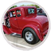 1930 Red Ford Model A-rear-8902 Round Beach Towel