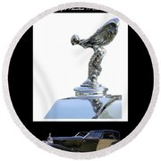 1930 Rolls Royce Mascot And Car Round Beach Towel