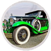 1930 Willys Knight 66b-plaidside Round Beach Towel