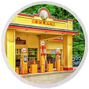 1930s Shell Gas Station Round Beach Towel