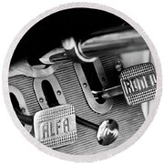 1931 Alfa Romeo 6c 1750 Gran Sport Aprile Spider Corsa Pedals -3689bw Round Beach Towel