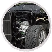 1931 Black Ford Roadster Round Beach Towel