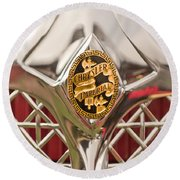 1931 Chrysler Cg Imperial Lebaron Roadster Grille Emblem Round Beach Towel