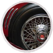 1931 Duesenberg Model J Spare Tire Round Beach Towel