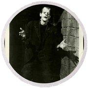 1931 Frankenstein Boris Karloff Round Beach Towel