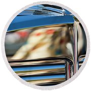1931 Marmon Sixteen Coupe Hood Ornament Round Beach Towel