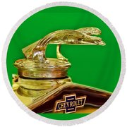 1932 Chevrolet Eagle Hood Ornament Round Beach Towel