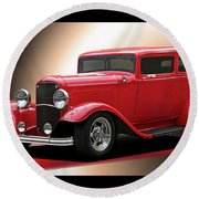 1932 Ford 'cherry Bomb' Sedan Round Beach Towel