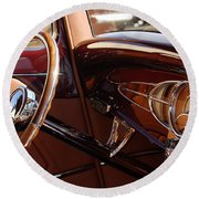 1932 Ford Hot Rod Steering Wheel 3 Round Beach Towel