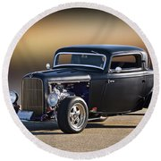 1932 Ford 'silky Satin' Coupe I Round Beach Towel