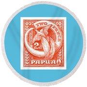 1932 Papua New Guinea Bird Of Paradise Postage Stamp Round Beach Towel
