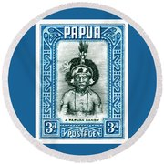 1932 Papua New Guinea Native Dandy Postage Stamp Round Beach Towel