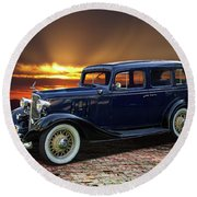 1933 Chevrolet 4 Door Eagle Sedan Round Beach Towel