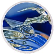1933 Chrysler Imperial Hood Ornament Round Beach Towel