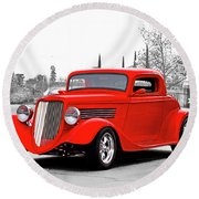 1933 Ford 'three Window' Coupe I Round Beach Towel