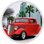 1933 Ford 'three Window' Coupe II Round Beach Towel