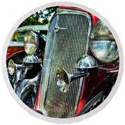 1934 Chevrolet Head Lights Round Beach Towel