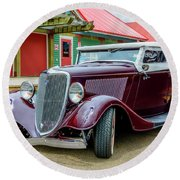 1934 Ford Roadster Hot Rod Round Beach Towel