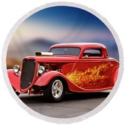 1934 Ford 'three Window' Coupe I Round Beach Towel