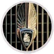 1934 Plymouth Emblem Round Beach Towel