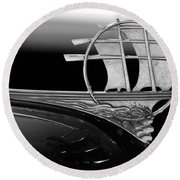 1934 Plymouth Hood Ornament Black And White Round Beach Towel