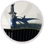 1934 Terraplane Coupe Hood Ornament Round Beach Towel