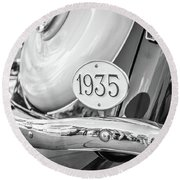 1935 Black And White Round Beach Towel by Gary Gillette