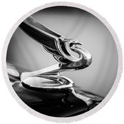 1935 Chevrolet Sedan Hood Ornament -0116bw Round Beach Towel