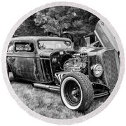 1935 Chevy Sedan Rat Rod Round Beach Towel
