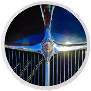 1935 Chrysler Hood Ornament 2 Round Beach Towel by Jill Reger