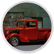 1935 Ford Pickup Parked At Garage Round Beach Towel