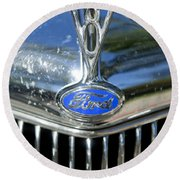 1935 Ford V8 Hood Ornament 2 Round Beach Towel