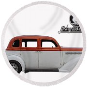 1935 Plymouth With Insignia Round Beach Towel