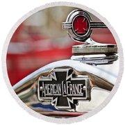 1936 American Lafrance Fire Truck Hood Ornament Round Beach Towel by Jill Reger