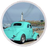 1936 Ford Coupe 'shoreline' 1 Round Beach Towel