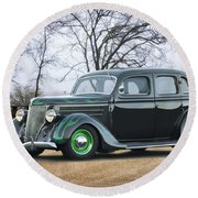 1936 Ford Deluxe Sedan I Round Beach Towel