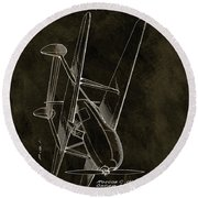 1936 Tandem Motored Biplane Round Beach Towel