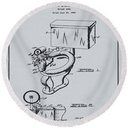 1936 Toilet Bowl Patent Antique Gray Round Beach Towel