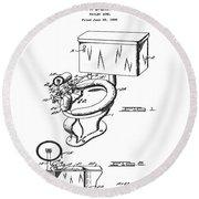 1936 Toilet Bowl Patent Round Beach Towel