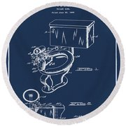 1936 Toilet Bowl Patent Blue Round Beach Towel