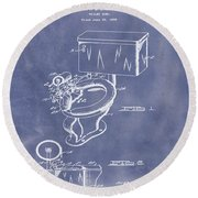 1936 Toilet Bowl Patent Blue Grunge Round Beach Towel