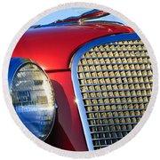 1937 Cadillac V8 Hood Ornament 2 Round Beach Towel