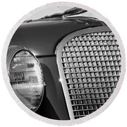 1937 Cadillac V8 Hood Ornament 3 Round Beach Towel by Jill Reger